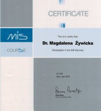 MIS - Certyfikat uczestnictwa w seminarium - dr Magdalena Żywicka