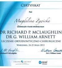 Kurs ortodontyczny - Leczenie ortodontyczno-chirurgiczne - Certyfikat - Magdalena Żywicka