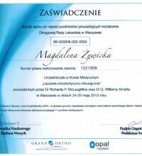Kurs Medyczny - Leczenie ortodontyczno-chirurgiczne - Zaświadczenie - Magdalena Żywicka