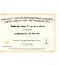 Ogólnopolskie Stowarzyszenie Implantologii Stomatologicznej - Świadectwo Członkostwa - Magdalena Żywicka