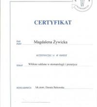 Włókno szklane w stomatologii i protetyce - Certyfikat - Magdalena Żywicka