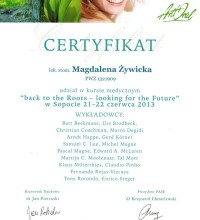 Back to the Roots - looking for the Future - Certyfikat - Magdalena Żywicka