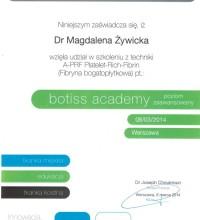 CERTYFIKAT - szkolenie z techniki A-PRF Platelet-Rich-Fibrin (fibryny bogatopłytkowej) - botiss academy - Dr Magdalena Żywicka