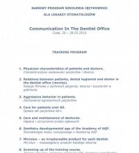 Program szkolenia językowego dla lekarzy stomatologów - Communication In The Dentist Office - Magdalena Żywicka
