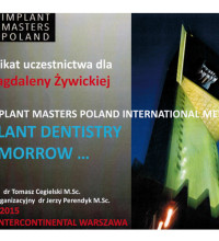 Implant Masters Poland - Implant Dentistry Tomorrow - dr Magdalena Żywicka