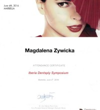 Attendance Certificate - Iberia Dentsply Symposium - Magdalena Żywicka
