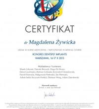 Certyfikat - Kongres Dentsply Implants - Udział w kursie medycznym - dr Magdalena Żywicka