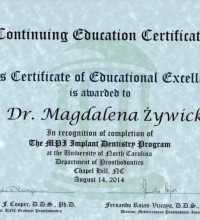 Certificate of Educational Excellence - The MPI Implant Dentistry Program - Dr Magdalena Żywicka