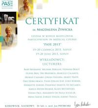 Certyfikat - Udział w Kursie Medycznym PASE 2015 - dr Magdalena Żywicka