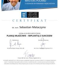 Certyfikat - Implant Masters Poland - udział w kursie medycznym - Planuj właściwie - implantuj z sukcesem - Robert Brzozowski