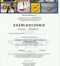 Zaświadczenie - Interdyscyplinarne leczenie chorób przyzębia - od pierwszej wizyty do pełnego planu leczenia - Sylwia Książek