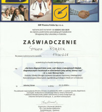 Zaświadczenie - kurs medyczny o najczęstszych błędach diagnostycznych i leczniczych - Sylwia Książek