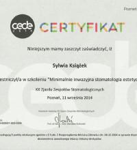 Certyfikat - Minimalnie inwazyjna stomatologia estetyczna - Sylwia Książek