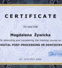 Certyfikat - Digital post-processing in dentistry - Magdalena Żywicka