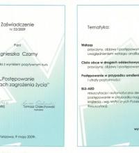 Postępowanie w stanach zagrożenia życia - zaświadczenie o ukończeniu kursu - Agnieszka Czarny
