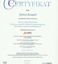 Certyfikat - Sesja chirurgiczna - praktyczne aspekty chirurgii stomatologicznej dla lekarzy ogólnie praktykujących - Sylwia Książek