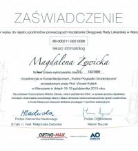 Trudne Przypadki Ortodontyczne - Kurs Medyczny - Zaświadczenie - lek. stom. Magdalena Żywicka