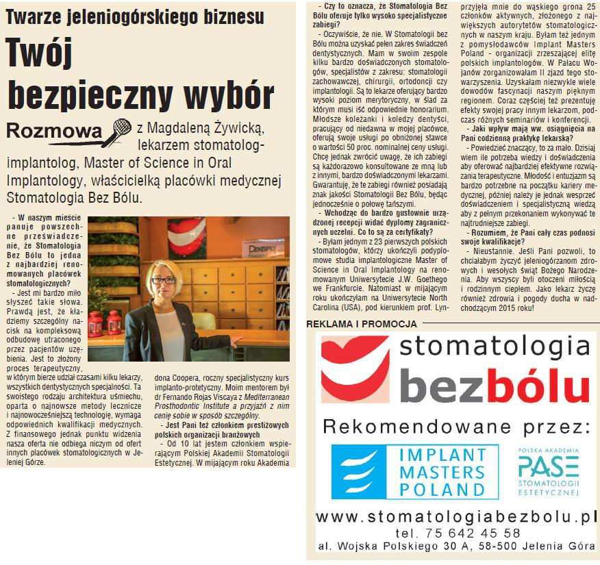 Dr Magdalena Żywicka specjalnie dla Nowin Jeleniogórskich