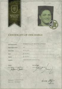 Certyfikat ukończenia kursu przez Sebastiana Mataczyno