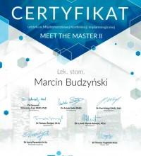 Certyfikat udziału w Międzynarodowej Konferencji Implantologicznej - lek. stom. Marcin Budzyński