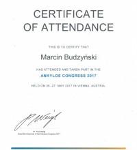 Ankylos Congress 2017 - Certyfikat uczestnictwa - Marcin Budzyński