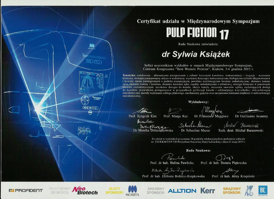Certyfikat ukończenia międzynarodowego sympozjum Pulp Fiction 17