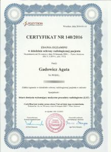 Ochrona radiologiczna pacjenta - certyfikat lek. stom. Agata Gadowicz