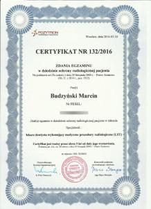 Ochrona radiologiczna pacjenta - certyfikat lek. stom. Marcin Budzyński