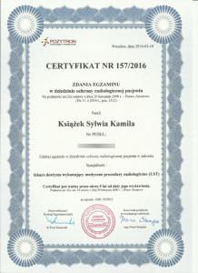 Ochrona radiologiczna pacjenta - certyfikat lek. stom. Sylwia Książek
