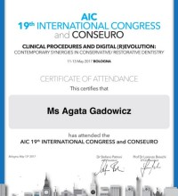 Międzynarodowy Kongres 19th AIC i CONSEURO Bolonia 2017 - Certyfikat uczestnictwa - Agata Gadowicz