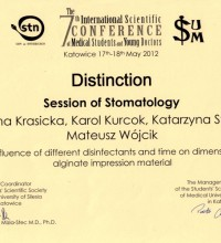 The influence of different disinfectants and time on dimensions of alginate impression material - Malwina Krasicka
