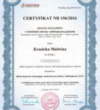 Certyfikat zdania egzaminu z zakresu ochrony radiologicznej pacjenta – Malwina Krasicka