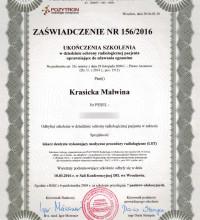 Certyfikat ukończenia szkolenia z zakresu ochrony radiologicznej pacjenta – Malwina Krasicka