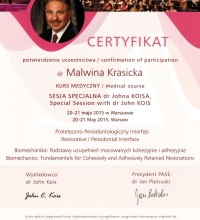 Sesja specjalna dr Johna Koisa - Protetyczno-Periodontologiczny Interfejs - dr Malwina Krasicka